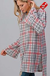 PLAID RUFFLE SLEEVE SLIT SIDES TOP PLUS