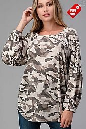 CAMO SHIRRED SLEEVE AND SHOULDER TOP PLUS
