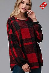 PLAID PUFF SLEEVE LOOSE FIT TOP PLUS