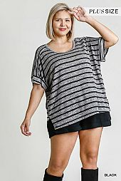 Striped Short Folded Sleeve Back Paneling Detail Top