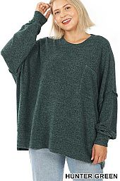 PLUS BRUSHED MELANGE DROP SHOULDER SWEATER