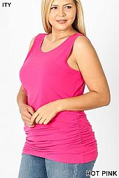 PLUS ITY SIDE RUCHED SLEEVELESS TOP