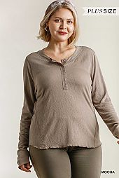 Round Neck Button Front Long Sleeve Top