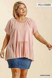 French Terry Round Neck Short Sleeve Babydoll Top
