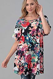 FLORAL RUFFLE SLEEVE  BOTTOM TUNIC
