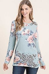 FLORAL PRINT FRENCH TERRY SIDE SHIRRING TOP