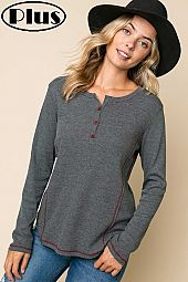 WAFFLE SOLID BUTTON COLOR STITCH HENLEY PLUS TOP