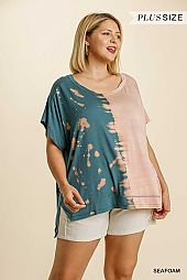 Contrast Color Round Neck Short Sleeve Top