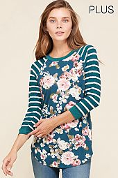 PLUS STRIPE SLEEVES FLORAL JERSEY TOP