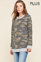 PLUS SOLID TRIM CAMOUFLAGE PULLOVER