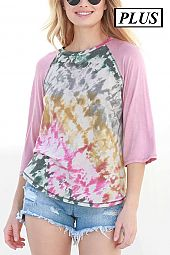 TIE DYE FRENCH TERRY SOLID 3/4 SLEEVE PLUS TOP