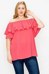 Plus Size Ruffle Detail Solid Top