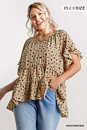 Dalmatian Split Neck Short Ruffle Sleeve Tiered Top