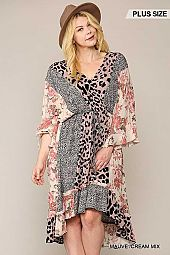 Leopard and Floral Mixed Print Hi Low Midi Dress