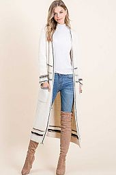 CASHMERE MOHAIR LONG CARDIGAN TRIM WITH POCKET