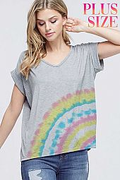Plus size Side tie dye v neck short sleeve top