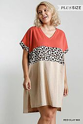 Animal Print Colorblock Short Sleeve Dress