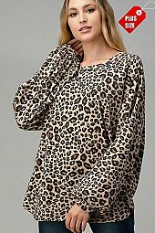 LEOPARD PUFF SLEEVE LOOSE TOP PLUS