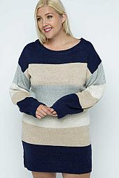 Lantern Sleeve Color Block Sweater Dress