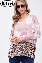 TERRY ANIMAL TIE DYE PRINT MIXED BOXY PLUS TOP