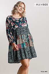 Mixed Printed Round Neck Tiered Dress