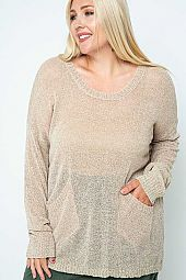 PLUS LOOSE KNIT SEMI SHEER SWEATER WITH POCKETS