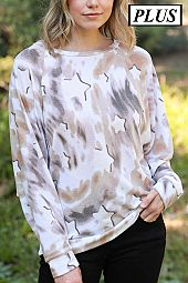 STAR PRINT FRENCH TERRY TOP