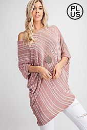 Plus Striped Dolman Sleeve Knit Top