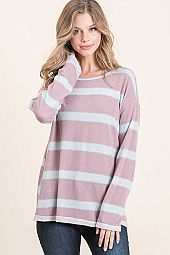 STRIPE FRENCH TERRY ROUND NECK LONG SLEEVE TOP