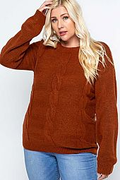 Soft Cable Knit Solid Pullover Sweater