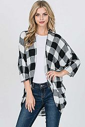 PLAID PRINT MOHAIR MIRR FABRIC OPEN CARDIGAN