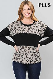 SOLID AND ANIMAL PRINT COLOR BLOCK ROUND NECK TOP