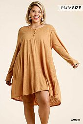 See Through Button Front Long Sleeve Back Tiered Dress