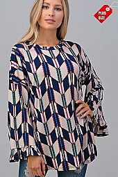 GEOMETRIC WIDE RUFFLE SLEEVE TOP PLUS