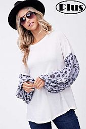ANGORA ANIMAL SOLID MIXED VOLUME SLEEVE PLUS TOP