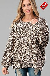 LEOPARD PUFF SLEEVE BANDED TOP PLUS