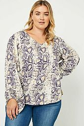 Plus V-Neck Puff Sleeve Top