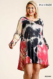 Tie Dye Round Neck Long Sleeve Panel Dress