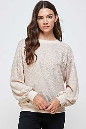 POODLE KNIT WITH SOLID CONTRAST LONG SLEEVE TOP