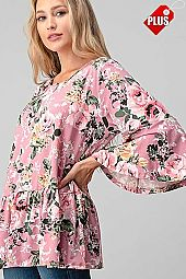 FLORAL PRINT  RUFFLE SLEEVE TOP