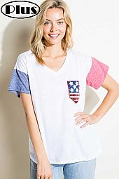 4TH OF JULY AMERICAN FLAG PK SOLID BOXY PLUS TOP