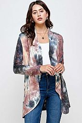 TIE DYE OAKLEY LONG SLEEVE OPEN CARDIGAN