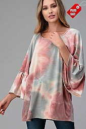 TIE DYE RUFFLE SLEEVE TOP PLUS