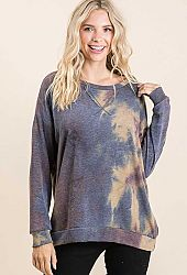 TIE DYE FRENCH TERRY V NECK LONG SLEEVE TOP