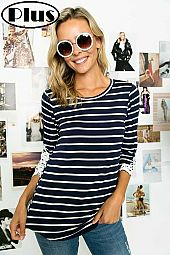STRIPE JERSEY CROCHET PATCH SLEEVE PLUS TOP
