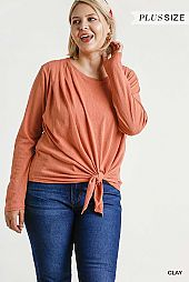 Long Sleeve Front Tie-able Knot Top