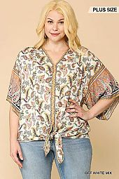 Paisley Printed V-NECK Front Tie Top