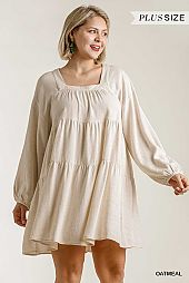 Square Neckline Long Sleeve Babydoll Tiered Dress