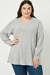Plus Brushed Knit Long Sleeve V-Neck Top