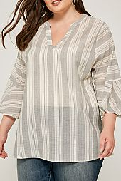 PLUS VERTICAL STRIPE PIN TUCK BLOUSE